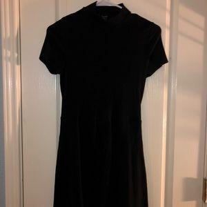 black knit turtleneck skater mini dress